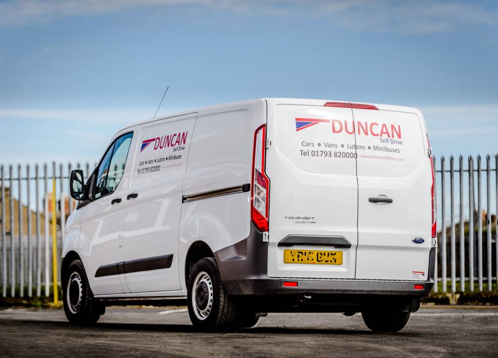 Duncan self drive van hire transit swb rear