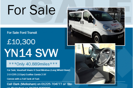Vauxhall Vivaro 9 Seat Minibus
